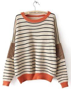 Striped Bat Sleeve Sweater. #fashion #trends #oversizedsweater