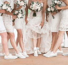 For casual wedding party style, look to Converse. Bride Sneakers, Converse Wedding Shoes, Wedding Sneakers, Bride Converse, Sneakers Style, Casual Wedding, Wedding Attire, Dream Wedding Dresses, Bridesmaids