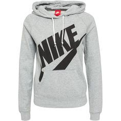 Nike Rally Hoody Logo (115 BGN) ❤ liked on Polyvore featuring tops, hoodies, sweaters, nike, grey, jumpers & cardigans, womens-fashion, gray hooded sweatshirt, hooded pullover and sweatshirt hoodies