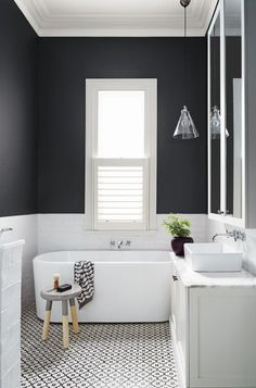Black and white all over. The black and white combo has been gaining steam in the bathroom. White subway tile and charcoal gray paint on the walls is chic on its own, but patterned black and white tile on the floor takes it to the next level. Finish on a strong note with an on-trend two-tone stool, graphic towel and maidenhair fern in a black pot. Click on pin for Pinterest tips.