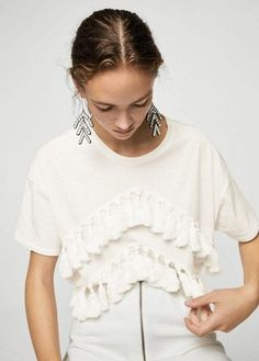 MANGO Pom pom cotton t-shirt