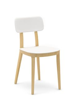 Dining chair in white and beech with solid wood frame (set of PerfectF . - Dining chair in white and beech colors with solid wood frame (set of PerfectFurnPerfectFurn -