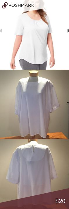 """🆕 Maggie Barnes white flowy top. Size 4x 🆕 Maggie Barnes white flowy top. Size 4x. Polyester. 29"""" long. Maggie Barnes Tops Blouses"""