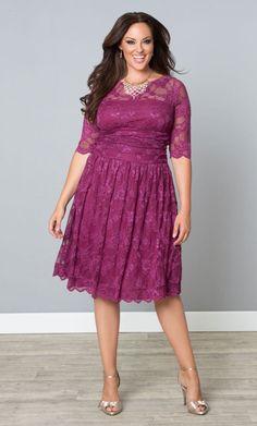 Scalloped Luna Lace Dress, Raspberry Glaze (Womens Plus Size)   From The Plus Size Fashion Community At www.VintageAndCurvy.com