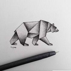 Art dessin noir et blanc animaux admirable dessin artistique ourse dessin géométrique tatouage idée