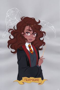 New Hermione Granger -- Gouache painting on colored paper