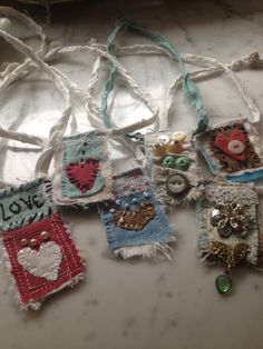 textile pendants - love these! Like for blue jean patches too.                                                                                                                                                                                 More