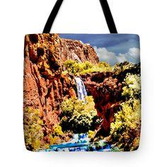 "Grand Canyon Waterfall Tote Bag 18"" x 18"" by  Dr Bob and Nadine Johnston"