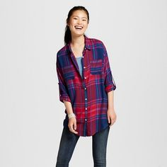 da7b73857352b Women s Oversized Button Down Tunic Mossimo Supply Co