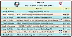 Military Officers Association of Sarasota, MOAS: Calendar July - September 2016 and The Breeze