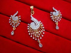 Daphne Designer Zircon Pendant and Earrings for Women, For Anniversary Gift – Buy Indian Fashion Jewellery Pendant Earrings, Women's Earrings, Diamond Earrings, Pendant Set, Diamond Pendant, Rakhi Gifts, Fashion Jewelry, Gold Fashion, Fashion Necklace