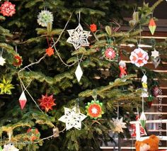 Кусудама Новый год Оригами Елка украшенная оригами-декором Бумага фото 5