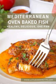 This recipe for Mediterranean oven baked fish makes for an easy one-pan dish with a rustic delicious tomato sauce, that's full of flavors. It's a healthy choice, perfect for a dinner for the whole fam Baked Tilapia Recipes, Healthy Salmon Recipes, Fish Recipes, Seafood Recipes, Mexican Food Recipes, Whole Food Recipes, Cooking Recipes, Dinner Recipes Easy Quick, Quick Easy Meals