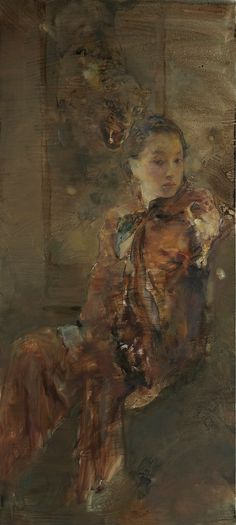 Hu Jun Di...Beauty and the Beast (sold) — framed: 69 in. x 38 in. unframed: 56 in. x 25 in. media: oil on canvas