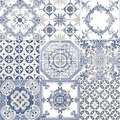 BLUE WHITE VINYL TEXTURED WALL SPANISH TILE FEATURE WALLPAPER MURIVA J95601