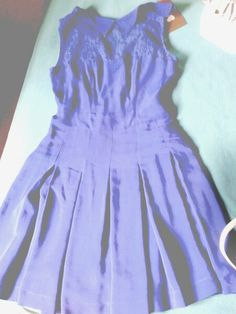 Blue dress with lace on top. Nice. !!