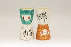 Set of 4  Handmade ceramic cup