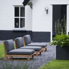 Grey upholstery, dark grey border and slate grey pot, planted up with Hostas, all pulling together. Outdoor Areas, Outdoor Seating, Outdoor Rooms, Outdoor Living, Outdoor Decor, Garden Seating, Outside Patio, Outside Living, Teak Outdoor Furniture