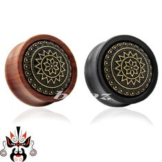 wood metal ear plugs piercing tunnels body jewelry with metal design in black and red colors WE-P001