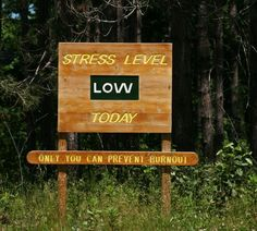 Stress level LOW today -- only you can prevent burnout!!!