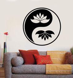 Vinyl Wall Decal Yin Yan Buddhism Symbol Lotus Flower Stickers (2277ig) Wall Stickers India, Vinyl Wall Stickers, Ying Yang Wallpaper, Buddhism Symbols, Yin Yang Art, India Art, Wall Drawing, Wall Tattoo, Arte Pop