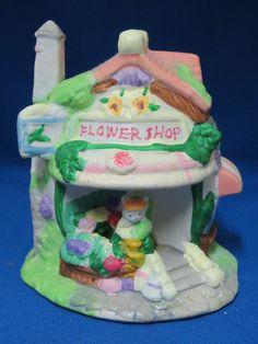 Spring Easter Village Bunny Town Flower Shop Lighted Building Light Up No Cord #Unbranded