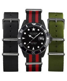 Coffret montre Exchange Moby Dick Diver 40mm vendue avec trois bracelets par Oxygen Watch noir 149.00€
