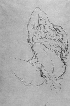 Drawings 2 / Sitzender Halbakt mit gespreizten Schenkeln und verdecktem Gesicht (Studie für 'Die Braut') 1917