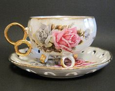 ROYAL SEALY footed Teacup and Saucer with by MEMORYVILLE on Etsy