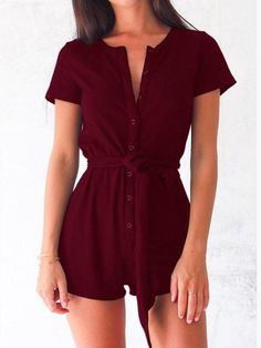 Sexy Playsuits 2017 Casual Bodycon Women Rompers Short Sleeve Solid Beach  Buttons Playsuits Overalls with Belts Plus Size. Madalyn · Clothes 7bc26f55cbd6