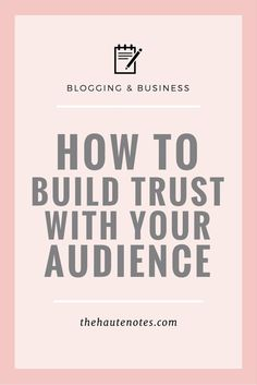 How to Build Trust w