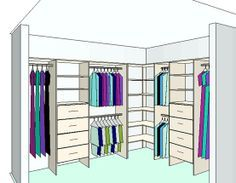 L shape closet layout, just the left side                                                                                                                                                                                 More