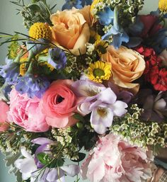 Colorful Wildflower Wedding Bridal Bouquet :: The Vines Flower & Garden Shop