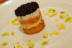 amuse bouche recipes | Amuse Bouche: Caviar Parfait with Potato Shallot Cake, Smoked Salmon ...