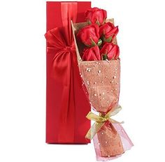 Ouzong RED Roses Bouquet Gift Box Elegantly Wrapped of 5 Scented Roses in a Charming Gift Box Best Gift for Anniversary Birthday Mothers and Valentines Day Valentine Day Love, Valentine Gifts, Red Flowers, Red Roses, Red Rose Bouquet, Birthday Gift For Wife, Flower Delivery, Online Gifts, Anniversary Gifts