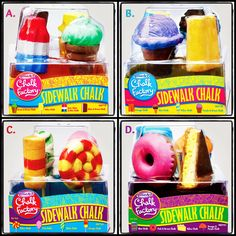 """Want to win this Summer's most wanted toy, Chalk Factory? Enter now: 1. Follow """"All Boards"""" on Pinterest.com/RoseArtFun. 2. Leave us a comment below telling us which sweet treat is your favorite (A, B, C or D). 3. Re-pin this photo to one of your Pinterest boards! One winner will be randomly selected.You have until Sunday, 6/10 at 5pm PT to enter. US only. #RoseArt"""