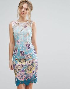 Paper Dolls Floral Lace Midi Dress