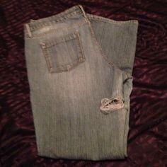Distress Route 66 blue jeans Straight leg, 5-pocket, distress on side near butt. Route 66 Jeans Straight Leg