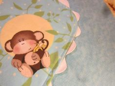 Baby blanket, 34x36, 2 sided flannel, monkeys, white cotton ric rac trim, stroller blanket, receiving blanket, carseat blanket, nursery by 1SweetBoutique on Etsy
