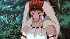 Her with a serious expression then turning into a worried look. -- Studio Ghibli movies, Japanese films, Princess Mononoke, moments, scenes, gif, characters