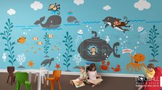 Kids Wall Decals - Underwater world, Whale ,octopus, ocean, dolphin, submerine monkey Wall decal Wall Sticker- Large by NouWall on Etsy https://www.etsy.com/listing/233948103/kids-wall-decals-underwater-world-whale