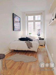 Long, narrow bedroom. Ésta también debe tener 2m de ancho, incluso menos.