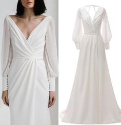 Chiffon Wedding Gowns, Wedding Gowns With Sleeves, Wedding Dresses For Sale, Wedding Dress Trends, Wedding Dress Sleeves, Modest Wedding Dresses, Cheap Wedding Dress, Bridal Dresses, Casual Bridesmaid Dresses