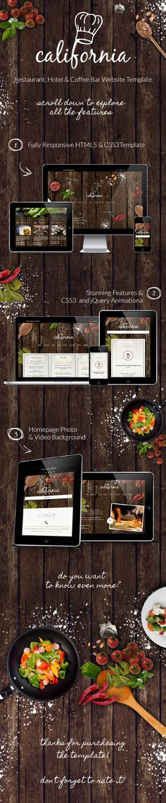 webdesign / wood / restaurant California - Restaurant Hotel Coffee Bar Site Template by AVAThemes , via Behance