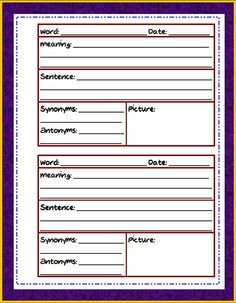 Teaching is My Game: Vocabulary Journal  http://teachingismygame.blogspot.com/2012/02/vocabulary-journal.html