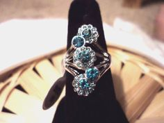 BEAUTIFUL NEW WOMEN'S SILVER PLATED BABY BLUE CUBIC ZIRCONIA 5 STONE RING #Unbranded #Cocktail