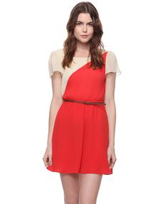 pleated colorblock dress in red and cream