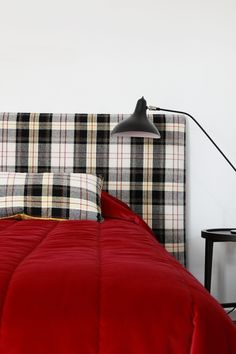 Red velvet linen complimented by the tartan bedhead for a cosy fun bedroom space. Designed by Woods and Warner, Sydney Bedspreads, Comforters, Bedhead, Interior Photo, Awesome Bedrooms, Cosy, Red Velvet, Tartan, Sydney