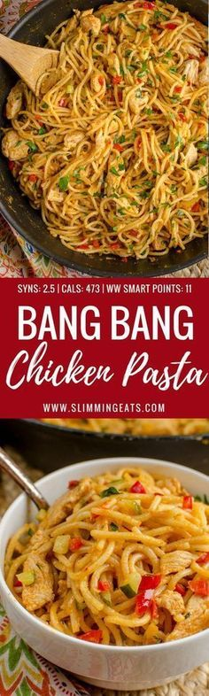 Dig into a bowl of this Delicious Bang Bang Chicken Pasta - a perfect family meal with a spicy kick - Slimming World and Weight Watchers friendly Click the image for more info. Slimming World Dinners, Slimming World Chicken Recipes, Slimming Eats, Slimming Recipes, Ww Recipes, Cooking Recipes, Healthy Recipes, Delicious Recipes, Dinner Recipes