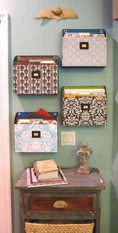 7 Inexpensive DIY Organizers for Your Home Office Wall Organization, File Folder Organization, Office Storage Furniture, Wall File Holder, Hanging File Organizer, Work Cubicle, Diy Storage, Collage, Cardboard Crafts